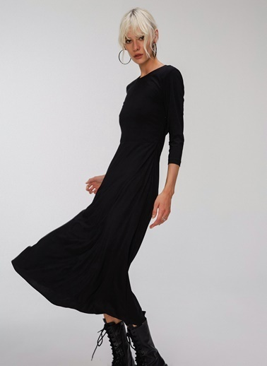 People By Fabrika Sırt Dekolteli Elbise Siyah